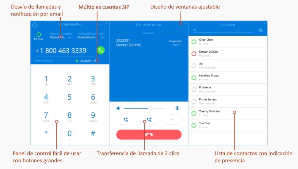 El Softphone.Pro es un un software telefónico diseñado para Windows y MacOS